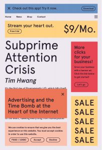 Cover of the book, which looks like it's covered in text-only banner ads with little close icons