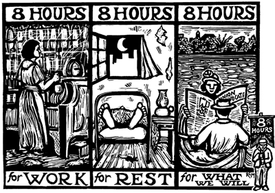 Woodcut style poster, of someone working, sleeping and reading in a boat